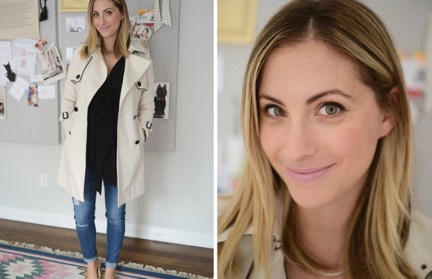 {Friday: Rachel Pally Top, AG Jeans, Club Monaco x Cupcakes and Cashmere Trench Coat, MAC 'Snob' Lipstick}