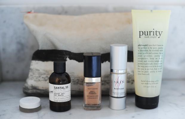 {RMS Living Luminizer, Dolce & Gabbana Foundation, Francesca Paige Restore,Philosophy Purity Face Wash}