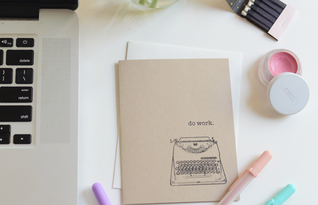 {Currently on my desk: a card for a friend, pastel pens, RMS 'Demure', ranunculus and a cute matchbook}
