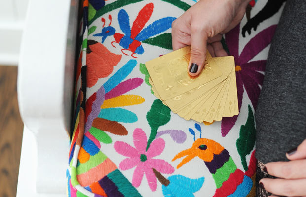 {Otomi print + gold playing cards}