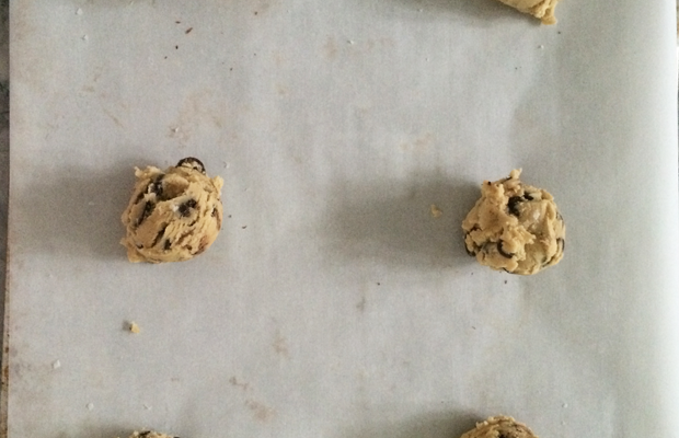 {Baking off frozen chocolate chip cookies for the nursing staff}