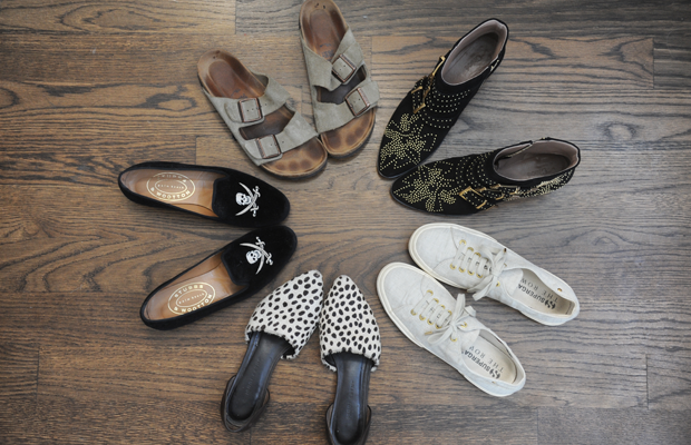 {My footwear rotation for the past few weeks. Jenni Kayne D'Orsay Flat, Superga X The Row Sneakers (no longer available), Chloe Studded Booties, Birkenstock Arizona, Stubbs & Wootton Slippers}