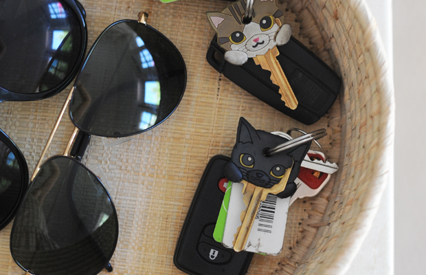 {Seagrass basket from Chay. Cat keys are Luna and Cali, naturally.}