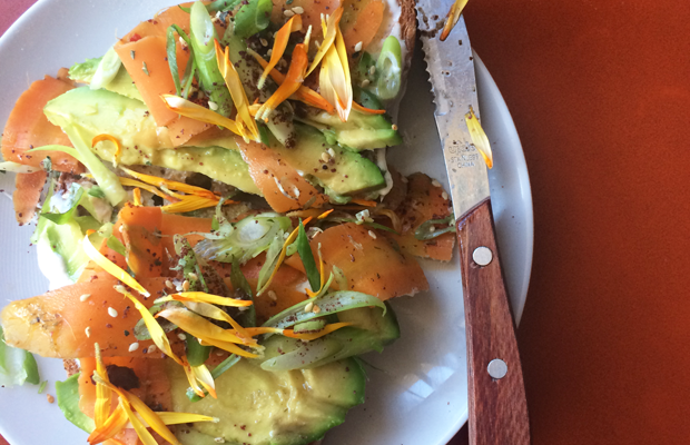 {New favorite avocado toast from Sqirl with edible flowers}