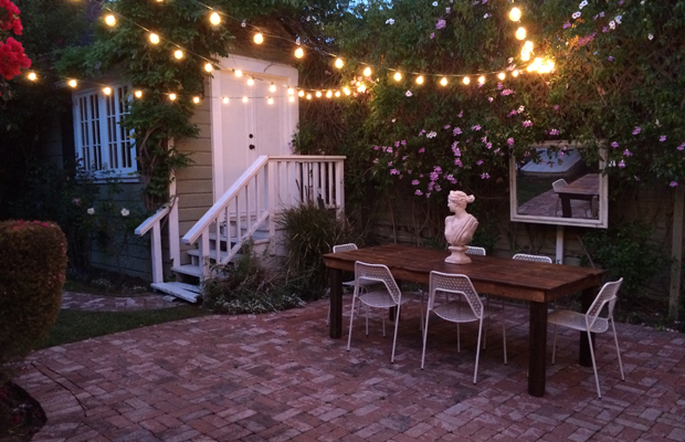 {Starting to enjoy warm summer nights in our backyard}