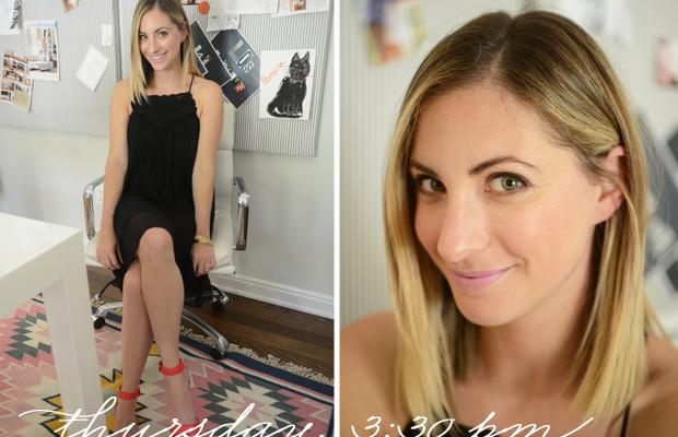 {Rebecca Taylor Dress, J.Crew Sandals, M.A.C 'Snob' Lipstick}
