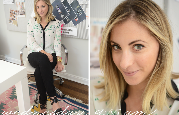 {ALC Blouse, Madewell Jeans, Costume National Heels}