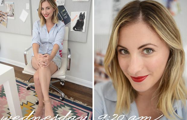 {Gap Top, Levis Vintage Shorts, J.Crew Sandals, Dolce & Gabbana Lipstick in 'Scarlet'}