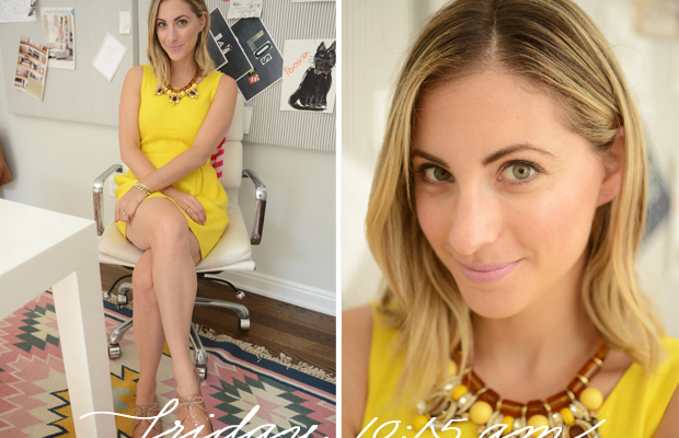{J.Crew Dress and Necklace, Madewell Brogues, M.A.C. 'Snob' Lipstick}