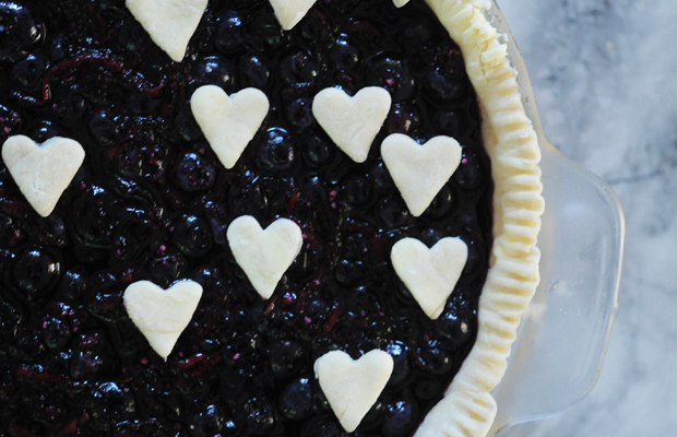 {Blueberry pie waiting to be baked}