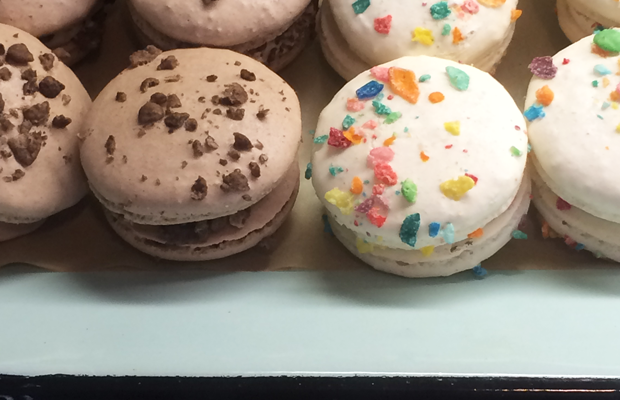 {Extra points for creativity: Fruity Pebbles and Coco Krispies-topped macarons}