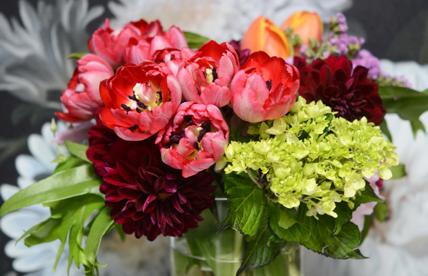 {Dramatic flowers in the powder room}