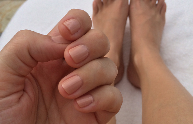 {Nude on nude: Essie's 'Spin the Bottle' and 'Topless & Barefoot'}