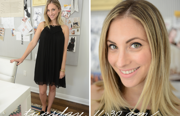 {Rebecca Taylor Dress, Stubbs & Wooten Slippers, Topshop 'Whimsical' Lipstick}