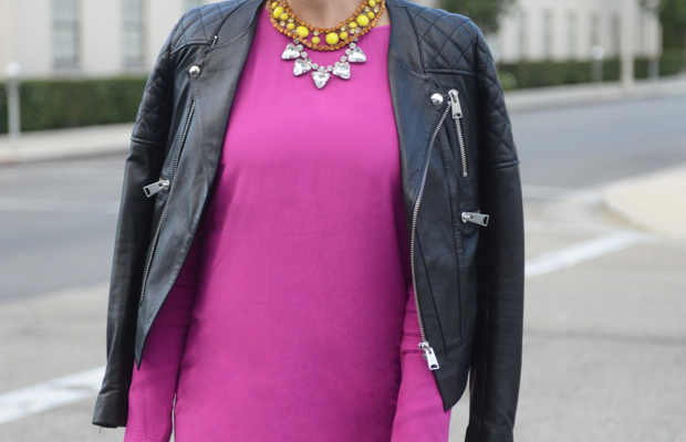 {Ray-Ban Sunglasses, Anine Bing Leather Jacket, Wayf Dress, Zara Heels, Vintage + Forever 21 Necklaces, Celine Bag,MAC 'Rebel' Lipstick}