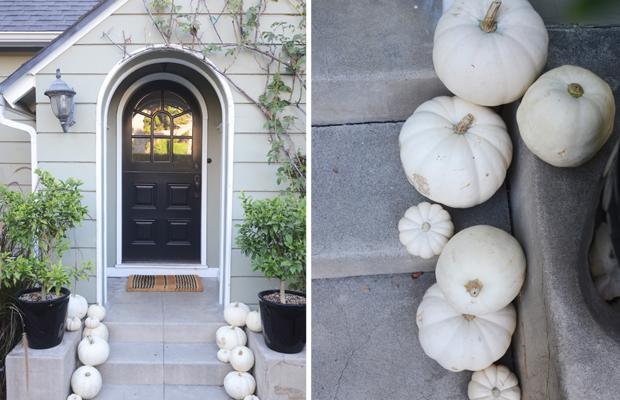 {White pumpkins at our entrance}