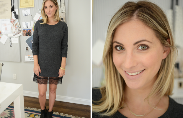 {Tuesday: Clu dress c/o, H by Hudson Booties, Tom Ford 'Nude Vanille' Lipstick}
