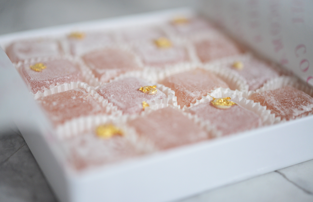 {Beautiful rose candies with edible gold}