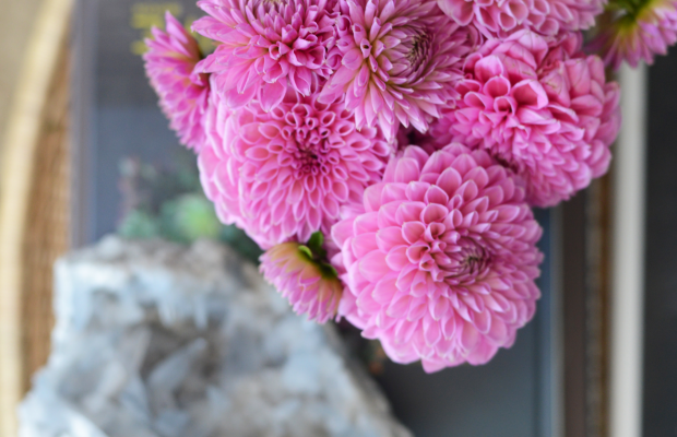 {Coffee table moment with farmers' market blooms + geode}