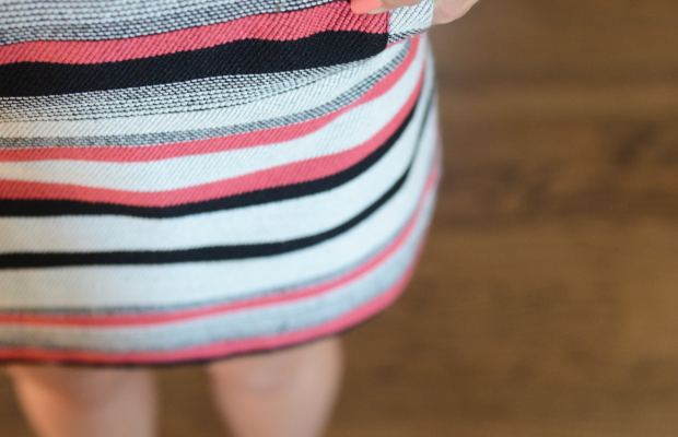 Striped shift dress with pocket.