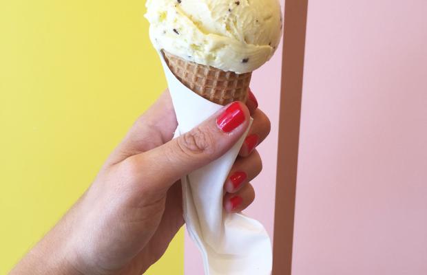 {Mint chip ice cream break}