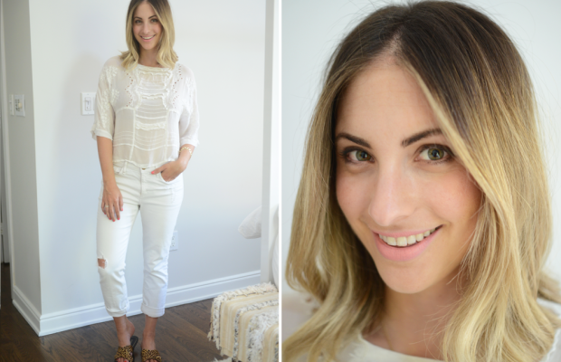 {Wednesday: Topshop Top, McGuire Jeans, J.Crew Sandals, Topshop 'Whimsical' Lipstick}