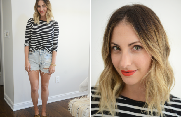{Monday:Cupcakes and Cashmere Striped Tee, Vintage Levi's Shorts, J.Crew Sandals, NARS 'Heat Wave' Lipstick}
