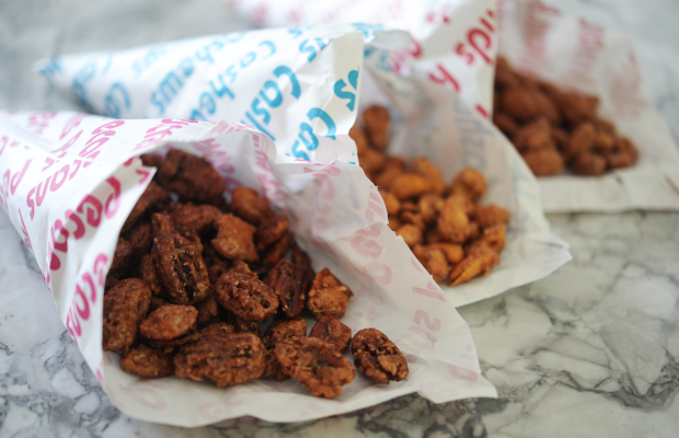 {Fresh candied nuts from the farmers' market}
