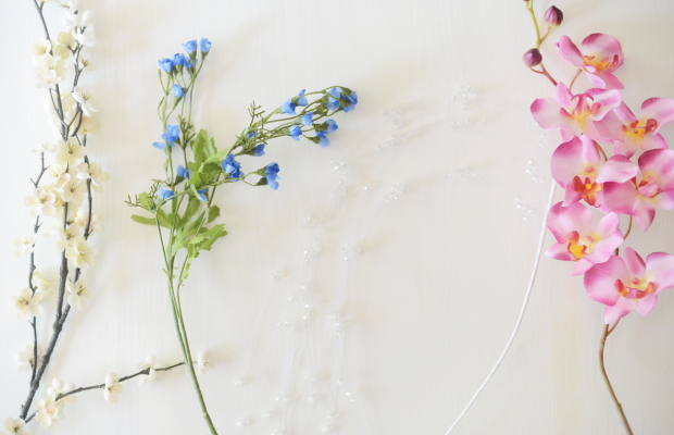 {Left to Right: White blossoms, Blue Flowers, Clear Crystals, Pink Orchid}