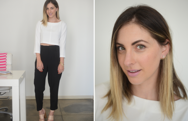 {Tuesday: Club Monaco Top, Alice + Olivia Pants, Givenchy Shoes, Maybelline 'Perpetual Peony' Lipstick}