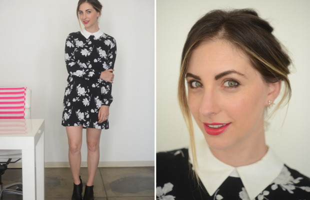 {Cupcakes and Cashmere Dress (available here and here), Alexander Wang Booties, Tom Ford 'Cherry Lush' Lipstick}