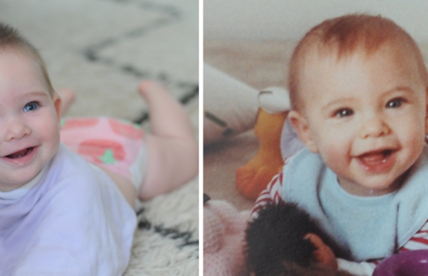 {Sloan and me both at 7 months}