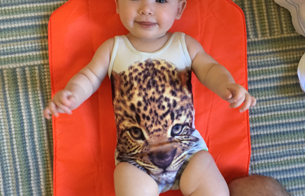 { Sloan's first swimsuit moment}