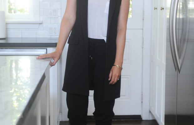 T by Alexander Wang Tank Top, Cupcakes and Cashmere Vest, Paige Sweats, Zara Sandals