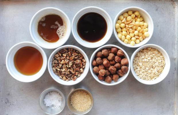 clockwise, l-r: brown butter, maple syrup, rice cereals, oats, hazelnuts, pecans, honey, turbinado sugar, Maldon salt.