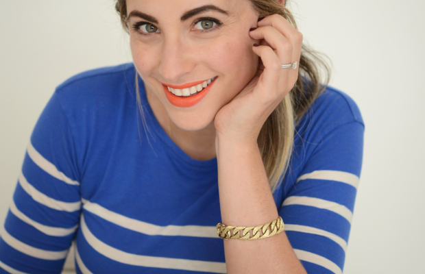 Maybelline 'Electric Orange' Lipstick, J.Crew Shirt