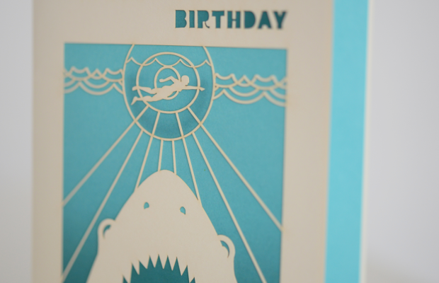 {The most perfect card for G's birthday - whose favorite movie is 'Jaws'}