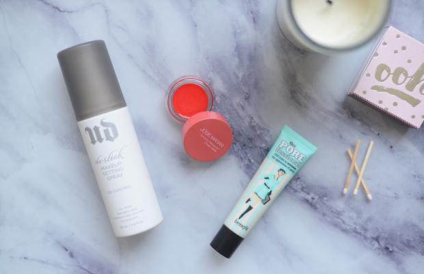Urban Decay Makeup Setting Spray, Josie Maran Cheek Gelée in Poppy Paradise, Benefit The POREfessional Face Primer