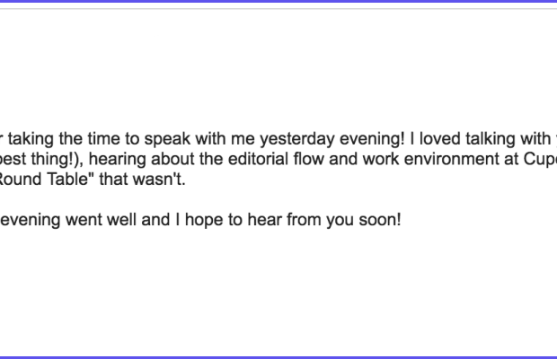 My email to Alina, the morning after our first interview