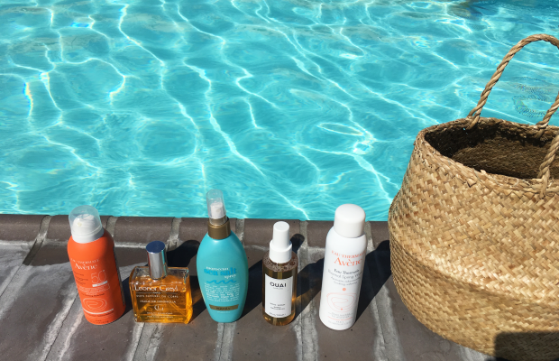 My pool line-up: Avene Hydrating Sunscreen Lotion SpraySPF 50, Leonor Greyl Huile de Magnolia for Face and Body (I am obsessed with this stuff), OGX Moroccan Sea Salt Spray, Ouai Haircare WaveSpray, Avene Thermal Spring Water Spray(which I spray after sun exposure to soothe skin), Doen Market Carry-All Basket (currently sold out, but similar here)