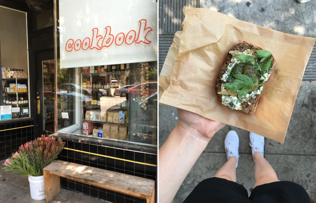 Left: Cookbook in Echo Park; Right: The trout and ricotta toast from cookbook.