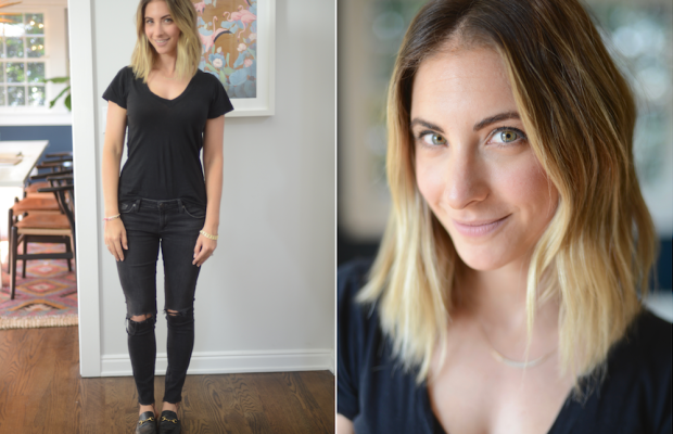 Tuesday: LNA Top, AG Jeans (similar here), Gucci Loafers