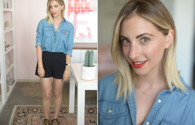Thursday: Cupcakes and Cashmere Chambray Shirt and Shorts, Georgia Perry Pin, Loeffler Randall Sandals, Topshop 'Rio Rio' Lipstick