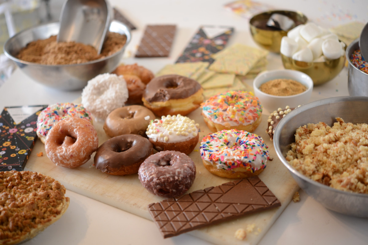 The real, fresh-baked donut bits that go into the Donuts & Coffee chocolate bar.