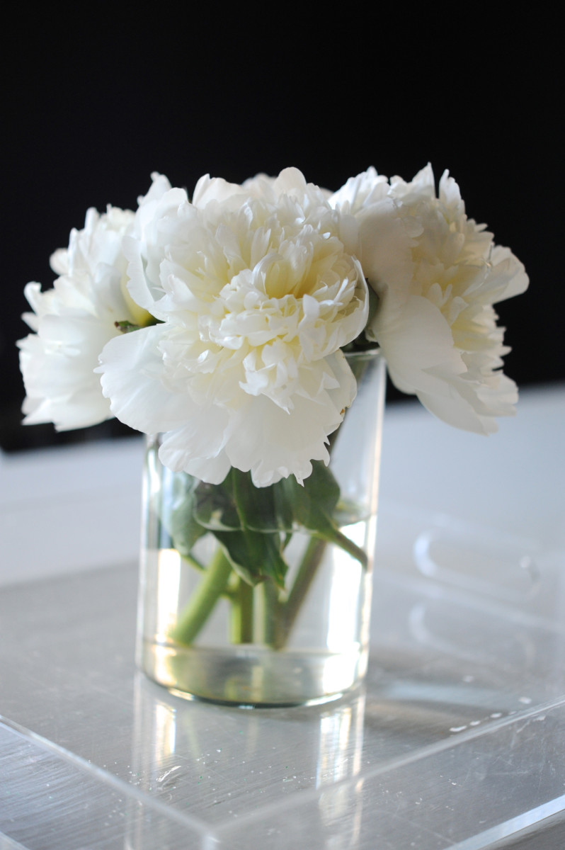 {White peonies, dark dining room}