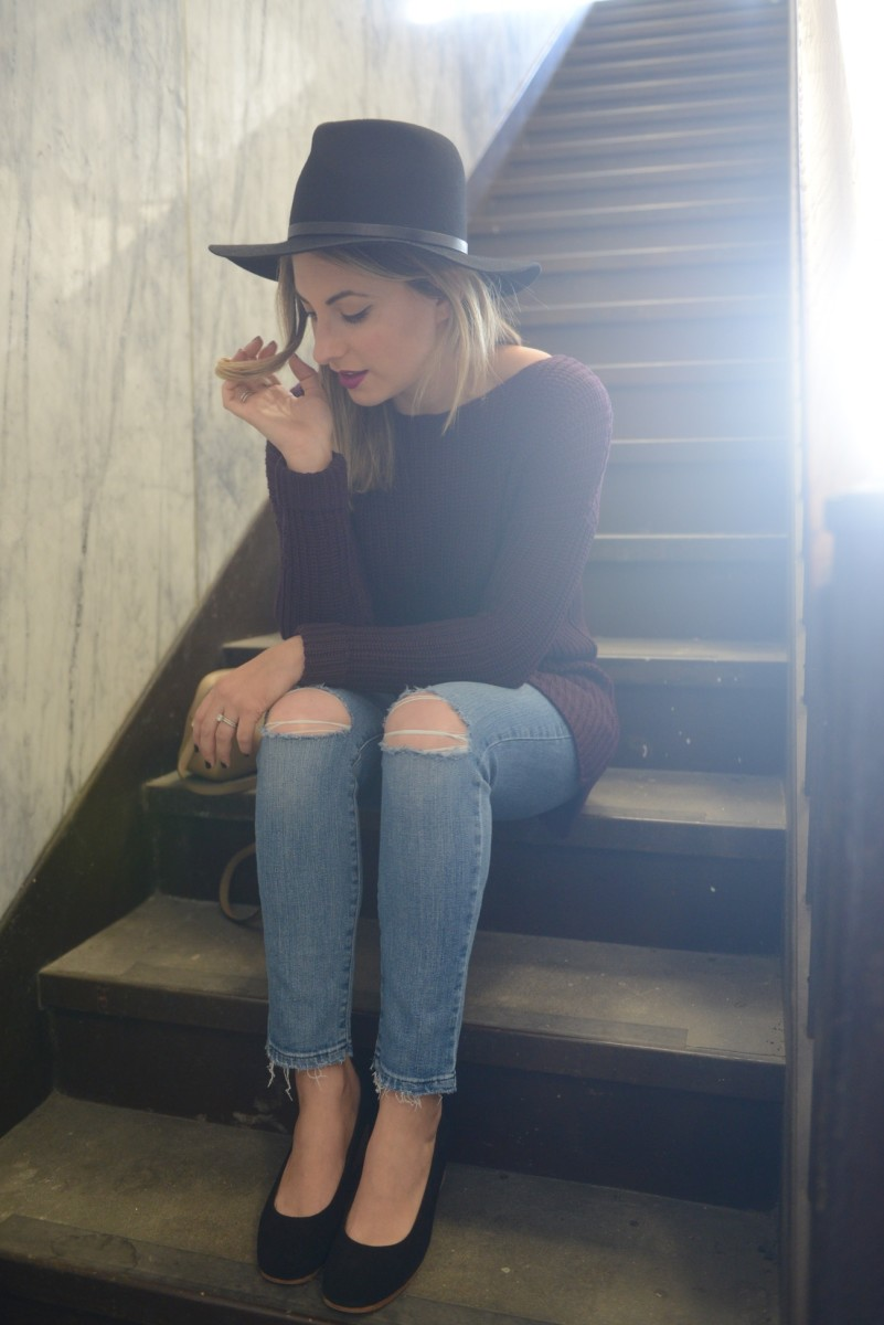Cuyana Hat, Cupcakes and Cashmere Sweater, Joe's Jeans, Gucci Bag, A Détacher Shoes, MAC 'Rebel' Lipstick
