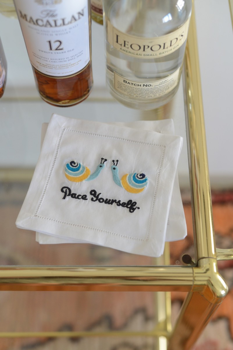 {The cutest cocktail napkins for the office bar cart}