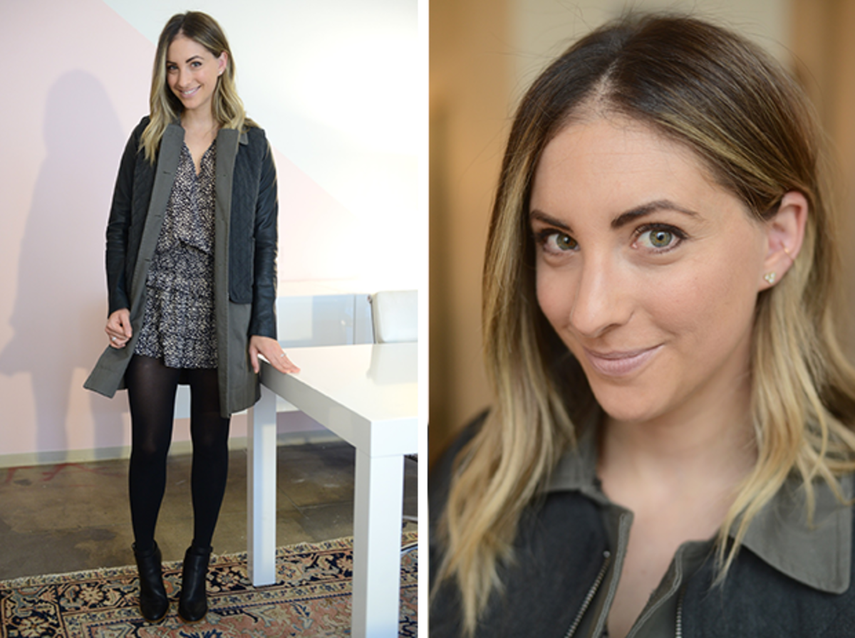 "{Tuesday: Ulla Johnson Dress, Elizabeth and James Jacket, H&M Tights, Vince Booties, Tom Ford ""Nude Vanille"" Lipstick}"