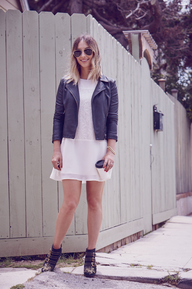 Ray-Ban Aviators, Cupcakes and Cashmere Faux Leather Moto Jacket (and here) and Dress, Chloe Boots