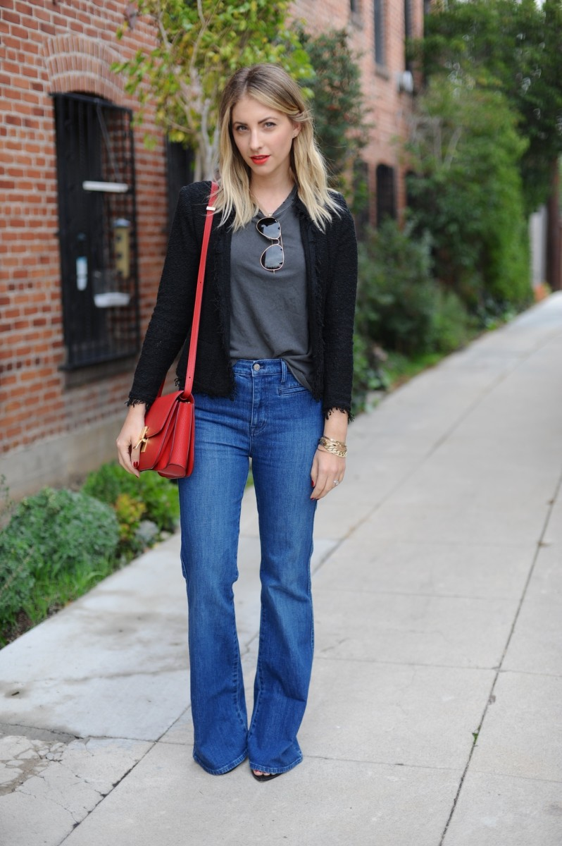 The Great Shirt, Iro Jacket, Madewell Jeans, Celine Bag, Zara Sandals, Topshop 'Rio Rio' Lipstick, Essie 'Macks' Nail Polish